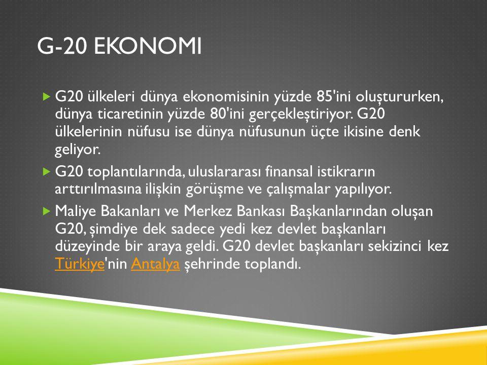 G-20 EKONOMI  G20 ülkeleri dünya ekonomisinin yüzde 85'ini oluştururken, dünya ticaretinin yüzde 80'ini gerçekleştiriyor. G20 ülkelerinin nüfusu ise