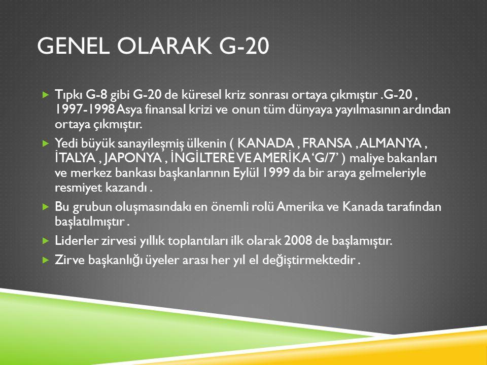 GENEL OLARAK G-20 NIN ROLU DE Ğ IŞIM GÖSTERDI MI  Küresel ekonomi ve maliye sistemlerinin yönetiminde Yirmiler Grubu nun rolü gittikçe artmaktadır.