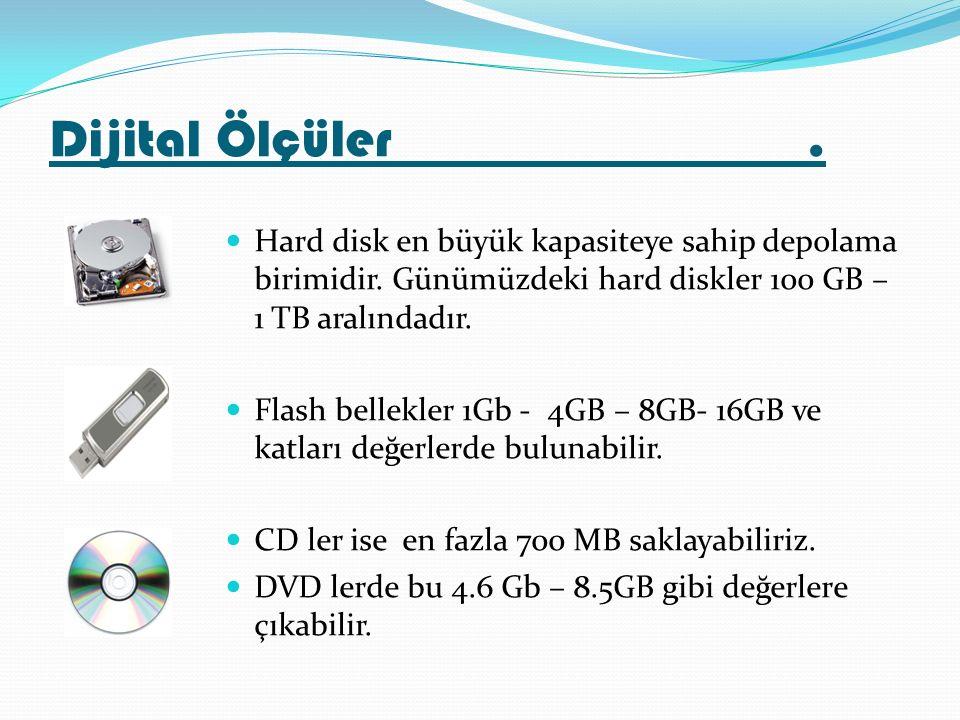 Hard disk en büyük kapasiteye sahip depolama birimidir. Günümüzdeki hard diskler 100 GB – 1 TB aralındadır. Flash bellekler 1Gb - 4GB – 8GB- 16GB ve k