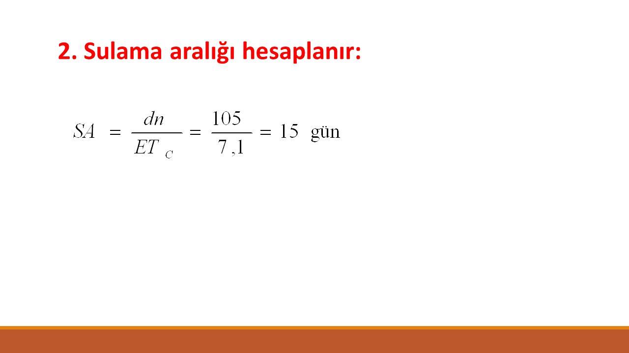 2. Sulama aralığı hesaplanır: