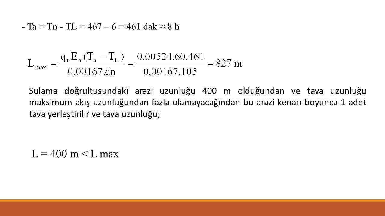 - Ta = Tn - TL = 467 – 6 = 461 dak ≈ 8 h Sulama doğrultusundaki arazi uzunluğu 400 m olduğundan ve tava uzunluğu maksimum akış uzunluğundan fazla olam