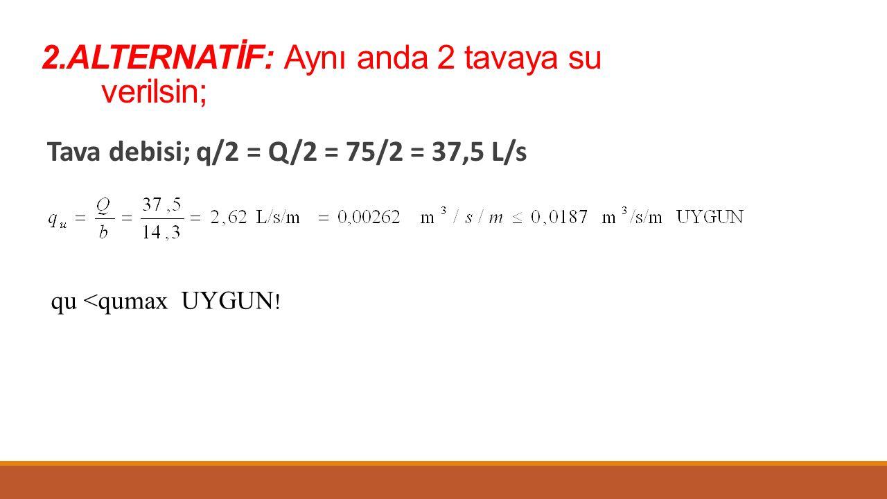 2.ALTERNATİF: Aynı anda 2 tavaya su verilsin; Tava debisi; q/2 = Q/2 = 75/2 = 37,5 L/s qu <qumax UYGUN !