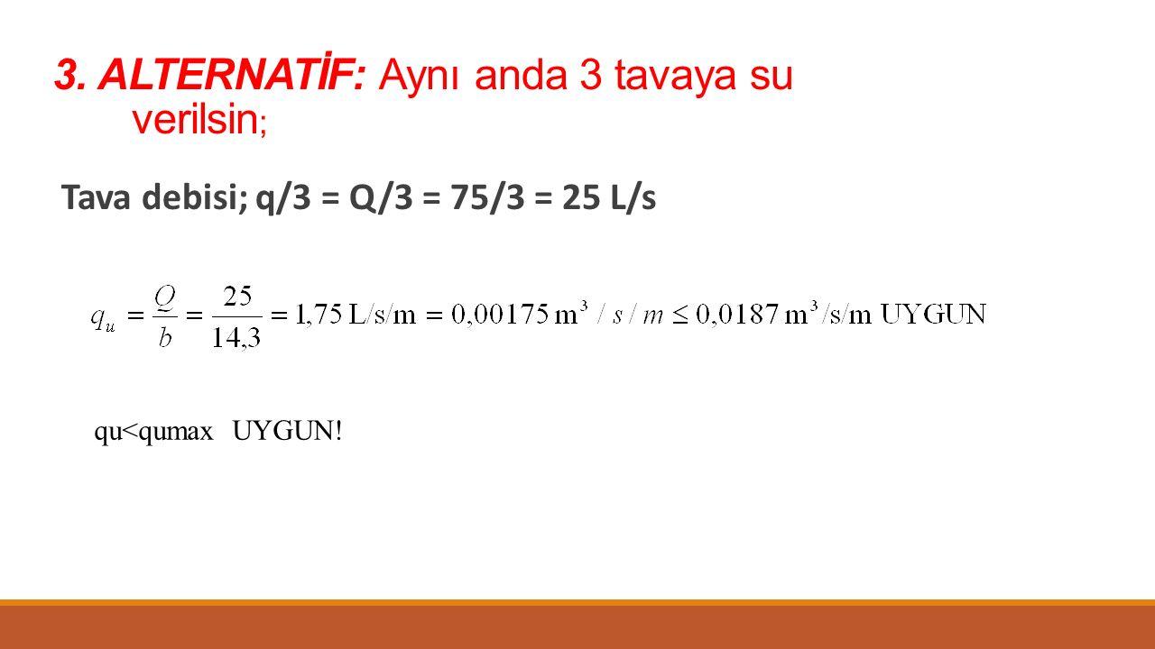 3. ALTERNATİF: Aynı anda 3 tavaya su verilsin ; Tava debisi; q/3 = Q/3 = 75/3 = 25 L/s qu<qumax UYGUN!