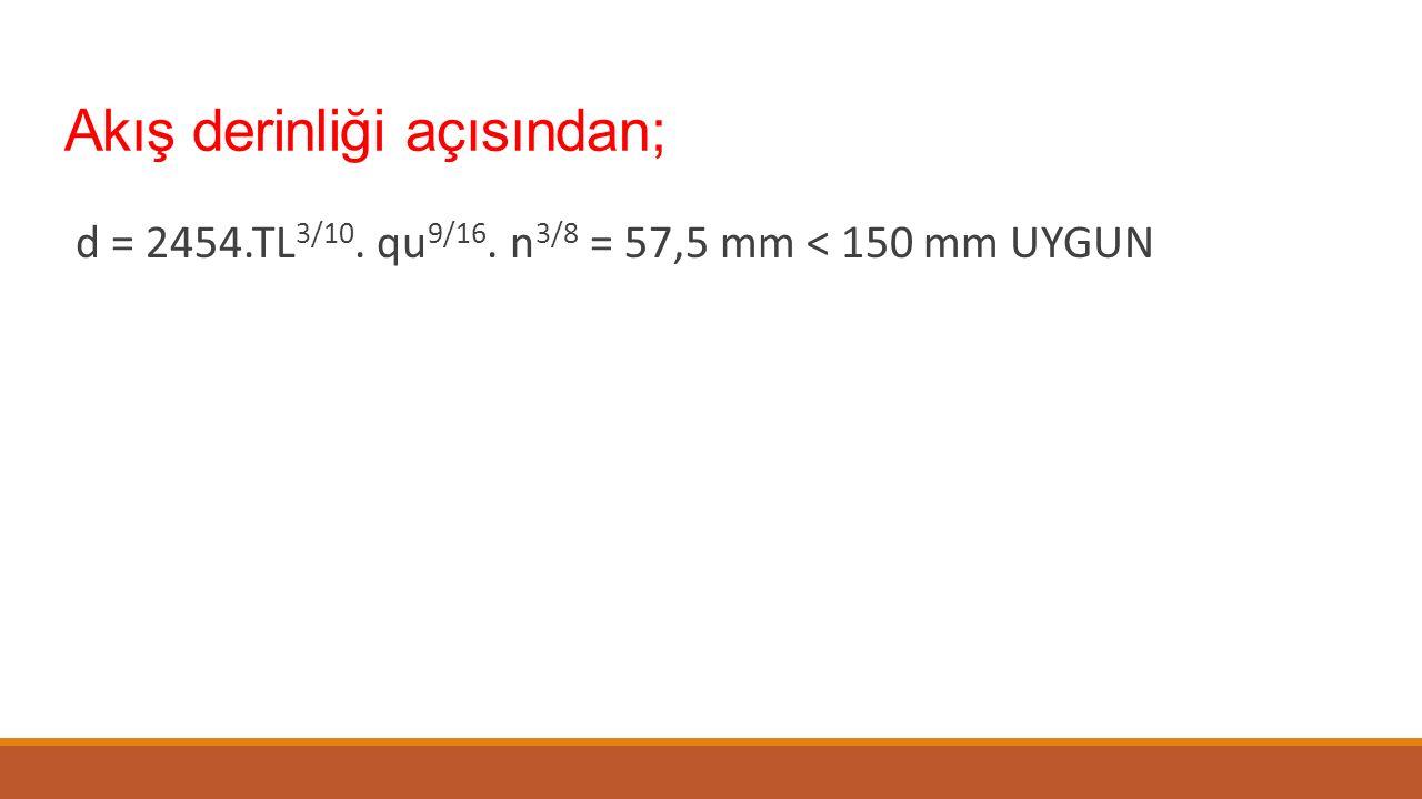 Akış derinliği açısından; d = 2454.TL 3/10. qu 9/16. n 3/8 = 57,5 mm < 150 mm UYGUN