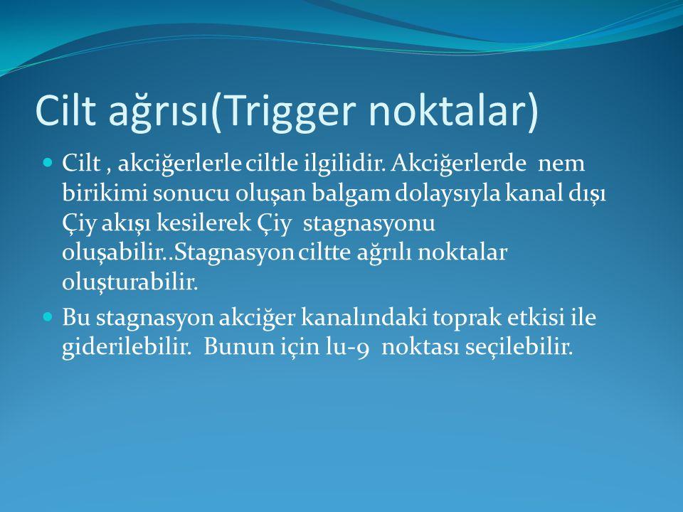 Cilt ağrısı(Trigger noktalar) Cilt, akciğerlerle ciltle ilgilidir. Akciğerlerde nem birikimi sonucu oluşan balgam dolaysıyla kanal dışı Çiy akışı kesi