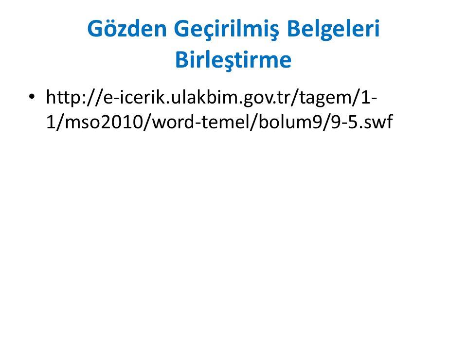 Gözden Geçirilmiş Belgeleri Birleştirme http://e-icerik.ulakbim.gov.tr/tagem/1- 1/mso2010/word-temel/bolum9/9-5.swf