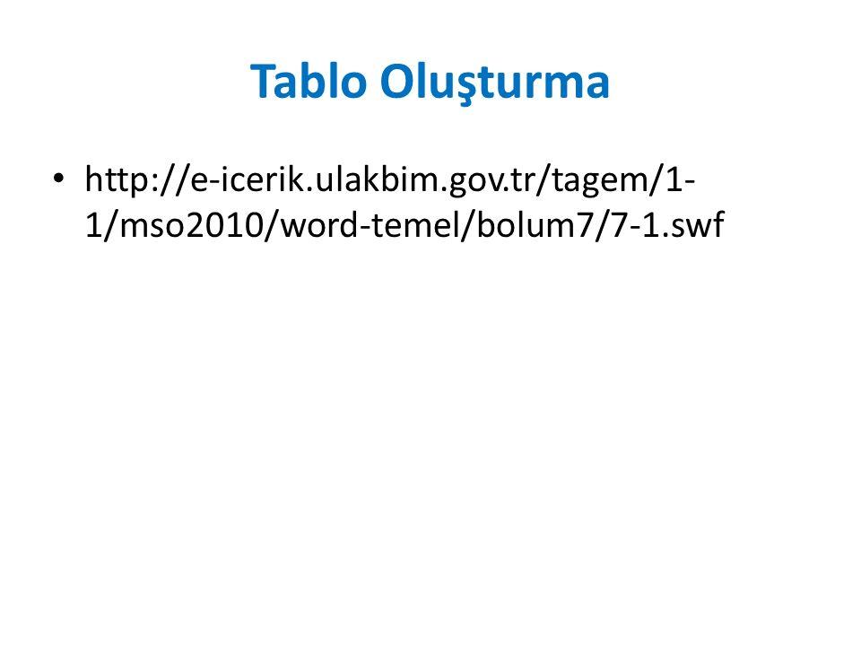Tablo Oluşturma http://e-icerik.ulakbim.gov.tr/tagem/1- 1/mso2010/word-temel/bolum7/7-1.swf