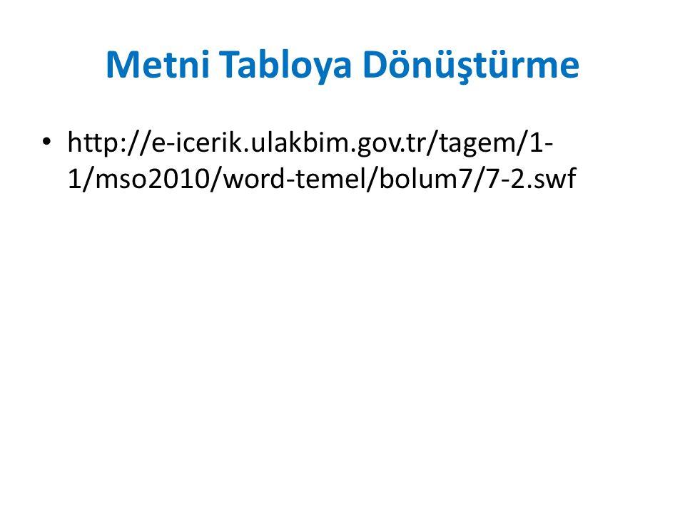 Metni Tabloya Dönüştürme http://e-icerik.ulakbim.gov.tr/tagem/1- 1/mso2010/word-temel/bolum7/7-2.swf