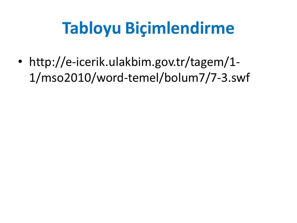 Tabloyu Biçimlendirme http://e-icerik.ulakbim.gov.tr/tagem/1- 1/mso2010/word-temel/bolum7/7-3.swf