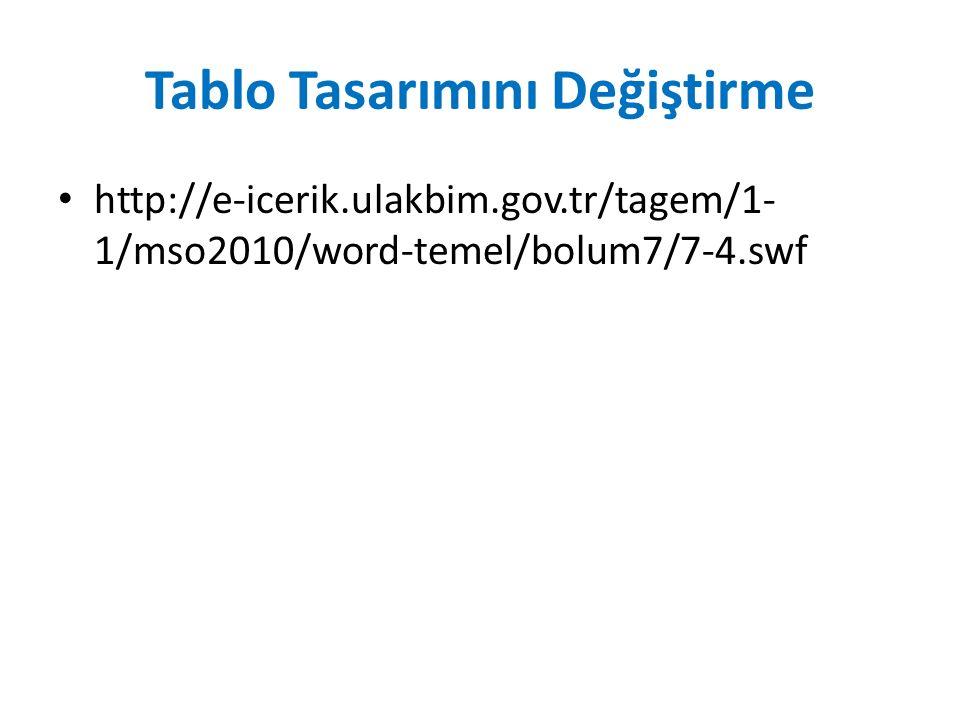 Tablo Tasarımını Değiştirme http://e-icerik.ulakbim.gov.tr/tagem/1- 1/mso2010/word-temel/bolum7/7-4.swf