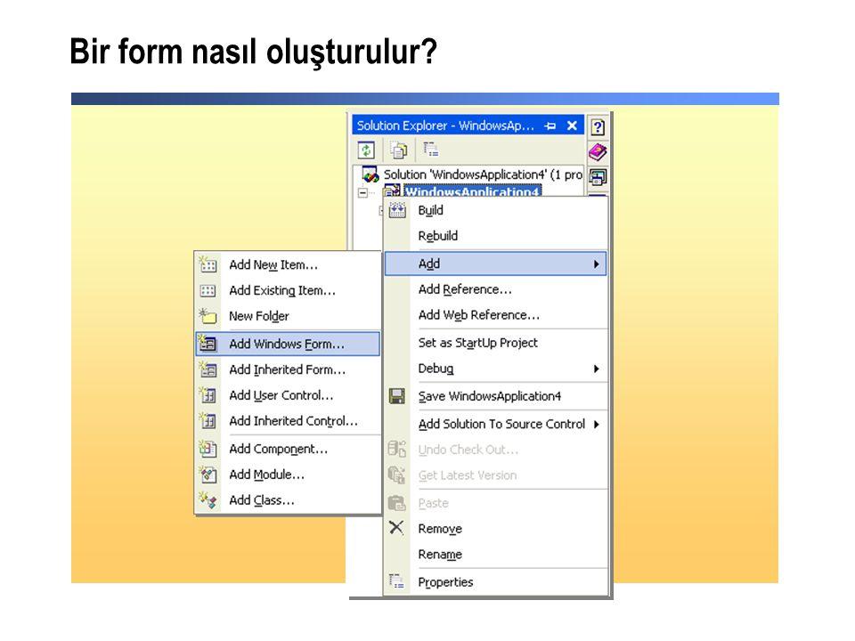 Bir form nasıl oluşturulur?
