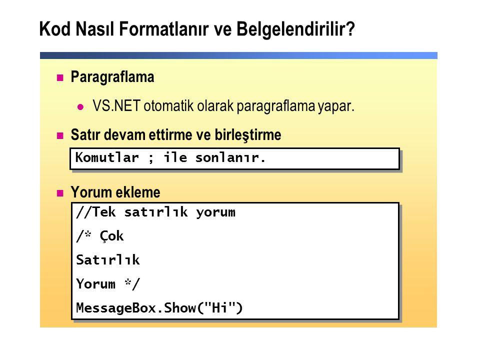 Kod Nasıl Formatlanır ve Belgelendirilir. Paragraflama VS.NET otomatik olarak paragraflama yapar.