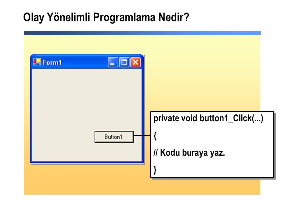 Olay Yönelimli Programlama Nedir. private void button1_Click(...) { // Kodu buraya yaz.
