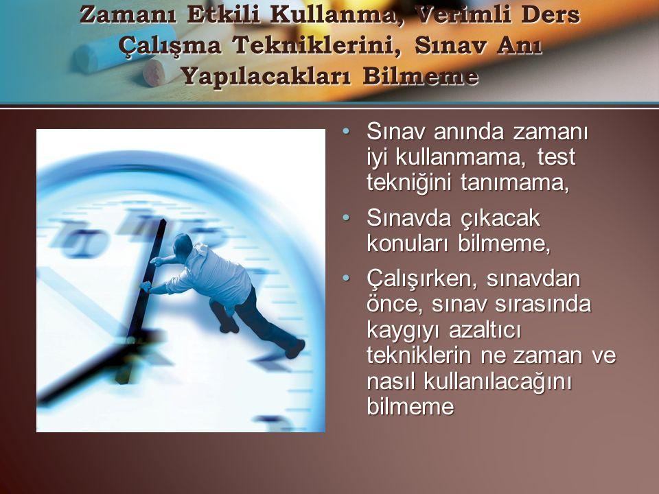 Sınav anında zamanı iyi kullanmama, test tekniğini tanımama,Sınav anında zamanı iyi kullanmama, test tekniğini tanımama, Sınavda çıkacak konuları bilm