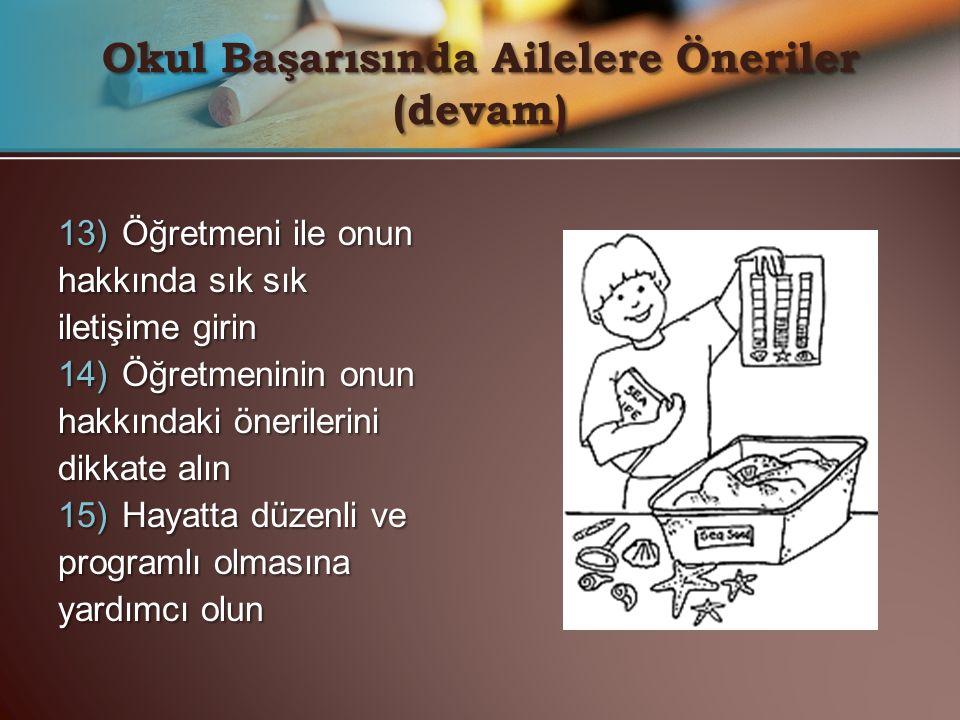 13) Öğretmeni ile onun hakkında sık sık iletişime girin 14) Öğretmeninin onun hakkındaki önerilerini dikkate alın 15) Hayatta düzenli ve programlı olm