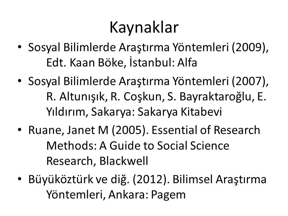 Kaynaklar Sosyal Bilimlerde Araştırma Yöntemleri (2009), Edt.