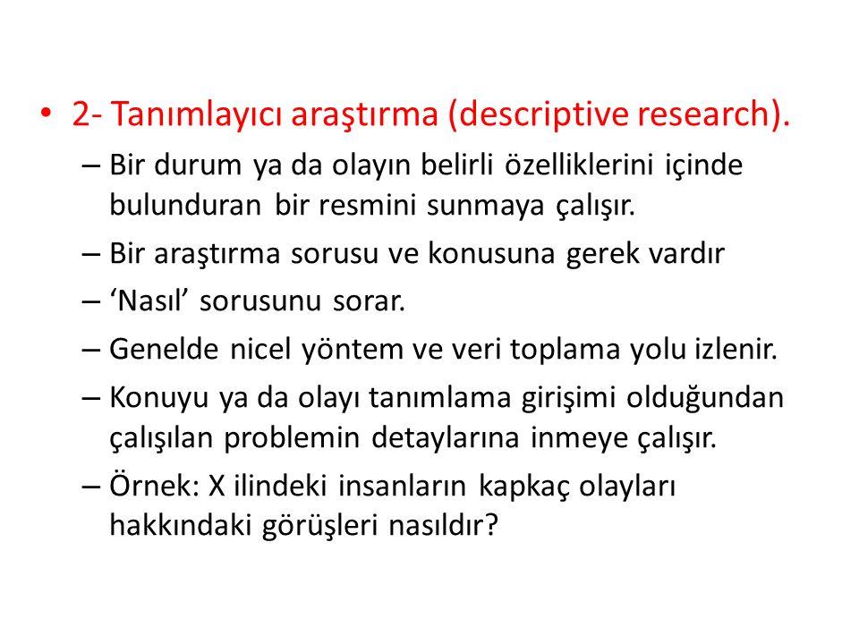 2- Tanımlayıcı araştırma (descriptive research).