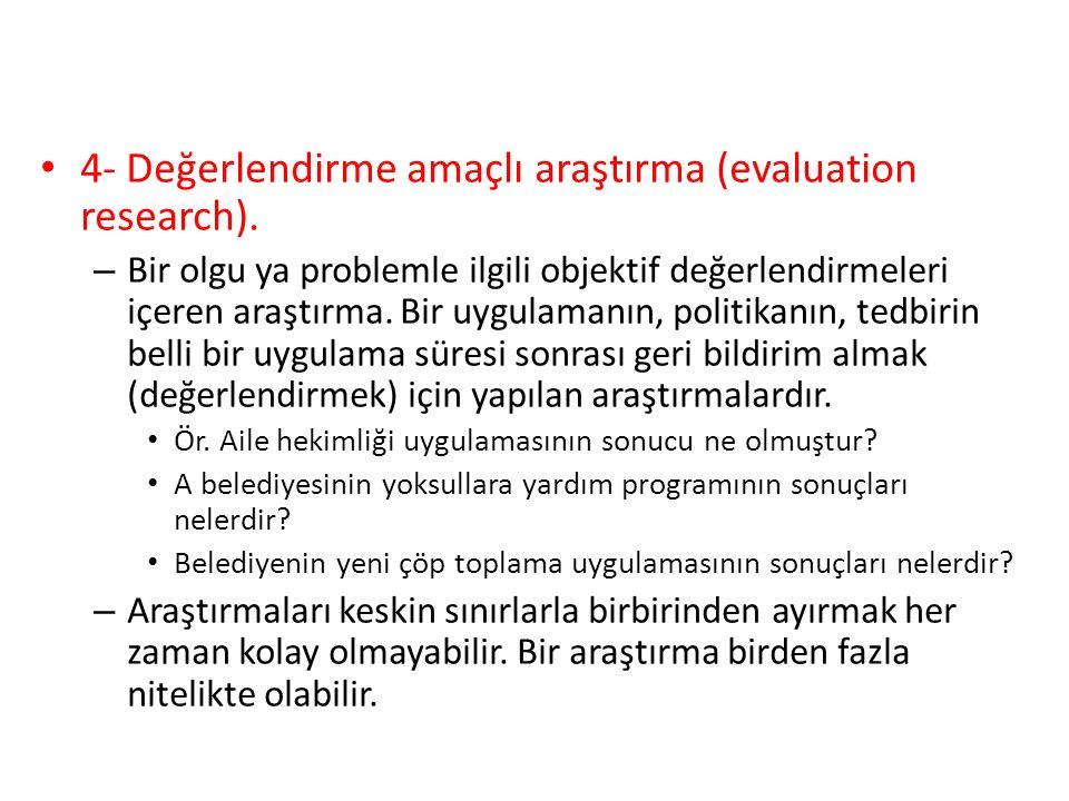 4- Değerlendirme amaçlı araştırma (evaluation research).