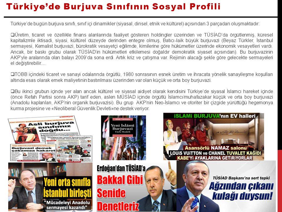 Türkiye'de Burjuva Sınıfının Sosyal Profili Türkiye'de bugün burjuva sınıfı, sınıf içi dinamikler (siyasal, dinsel, etnik ve kültürel) açısından 3 par