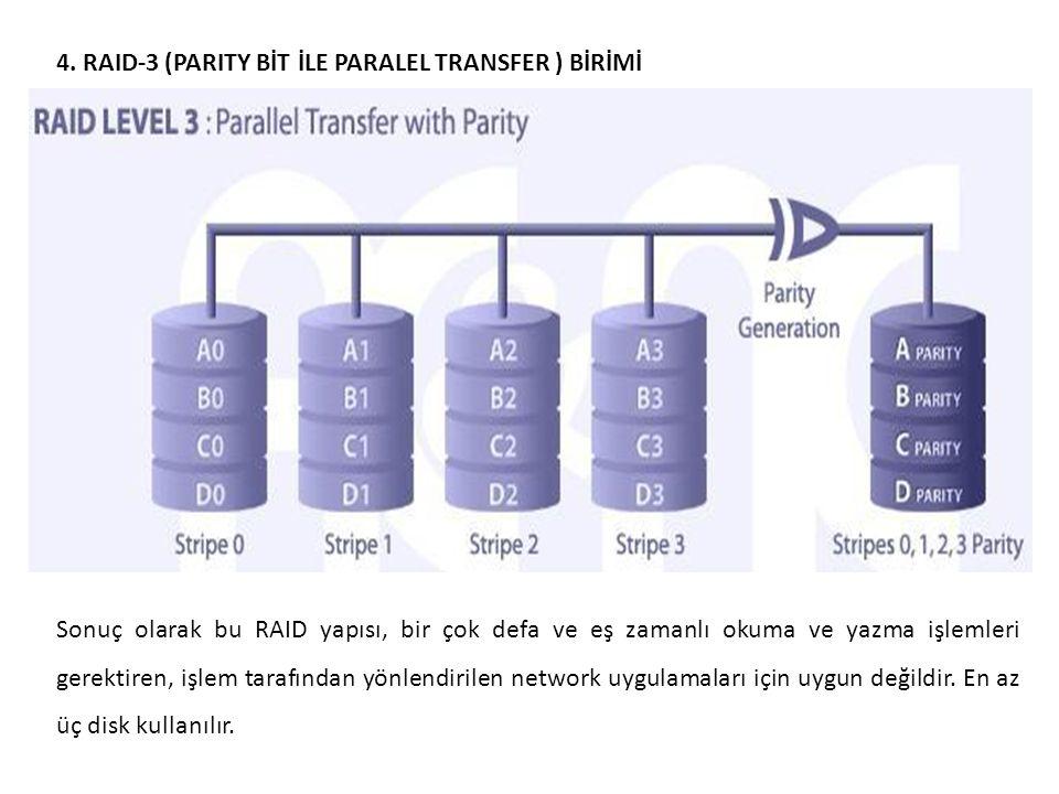 4. RAID-3 (PARITY BİT İLE PARALEL TRANSFER ) BİRİMİ Sonuç olarak bu RAID yapısı, bir çok defa ve eş zamanlı okuma ve yazma işlemleri gerektiren, işlem