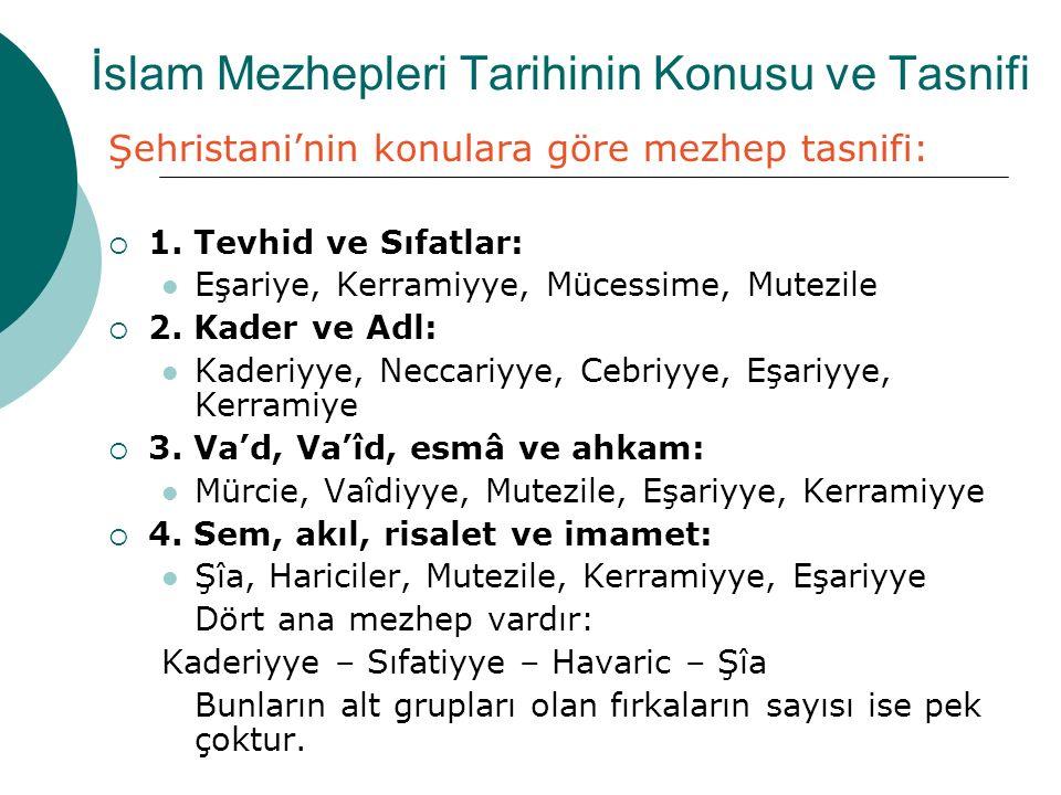 İslam Mezhepleri Tarihinin Konusu ve Tasnifi Şehristani'nin konulara göre mezhep tasnifi:  1. Tevhid ve Sıfatlar: Eşariye, Kerramiyye, Mücessime, Mut
