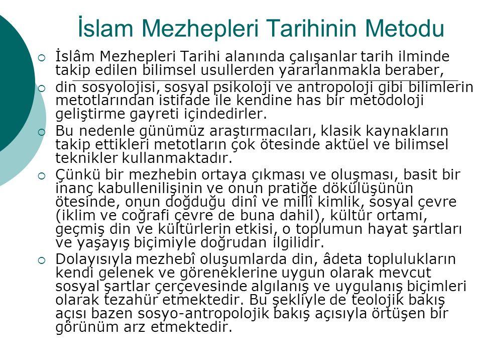 İslam Mezhepleri Tarihinin Metodu  İslâm Mezhepleri Tarihi alanında çalışanlar tarih ilminde takip edilen bilimsel usullerden yararlanmakla beraber,