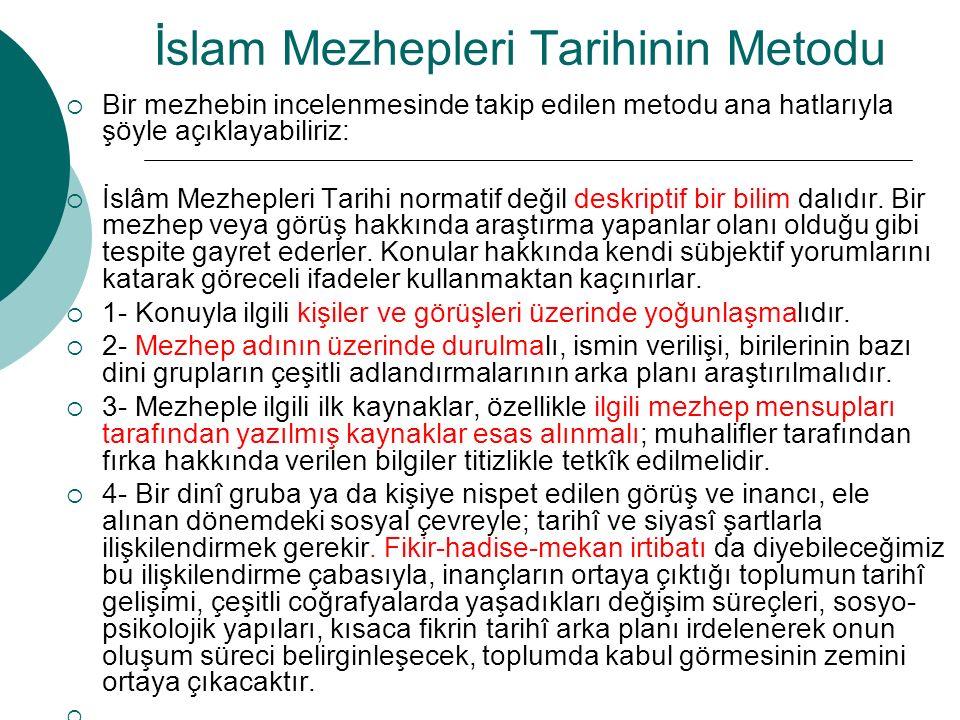 İslam Mezhepleri Tarihinin Metodu  Bir mezhebin incelenmesinde takip edilen metodu ana hatlarıyla şöyle açıklayabiliriz:  İslâm Mezhepleri Tarihi no