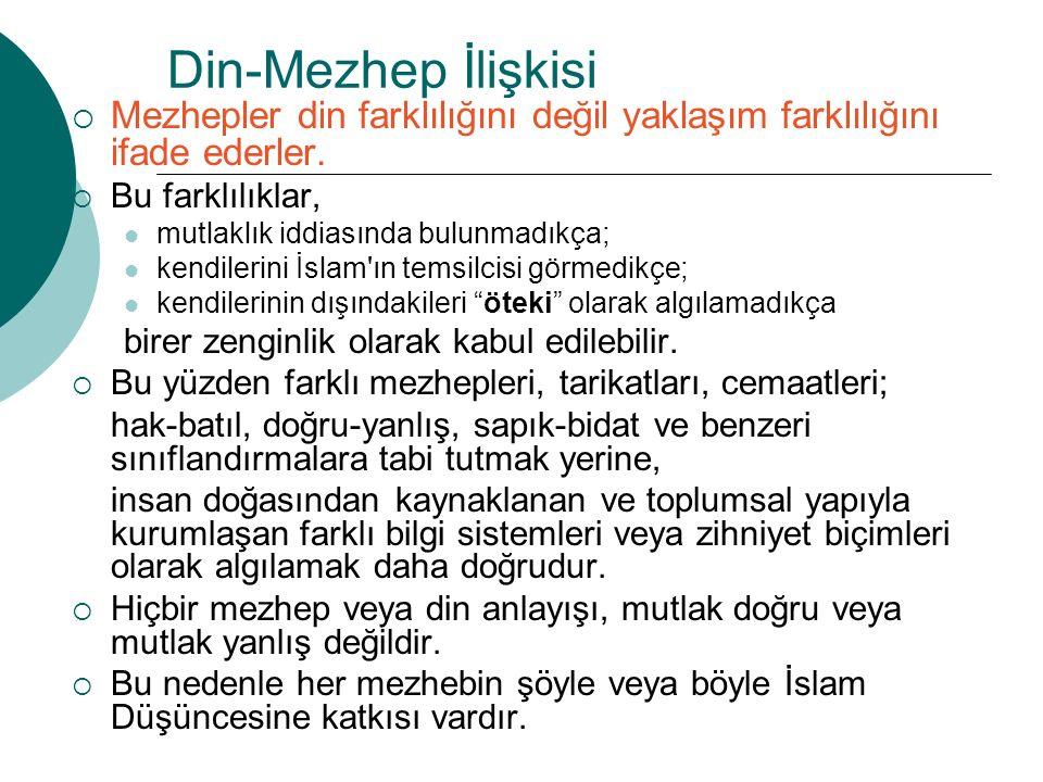 Din-Mezhep İlişkisi  Mezhepler din farklılığını değil yaklaşım farklılığını ifade ederler.  Bu farklılıklar, mutlaklık iddiasında bulunmadıkça; kend