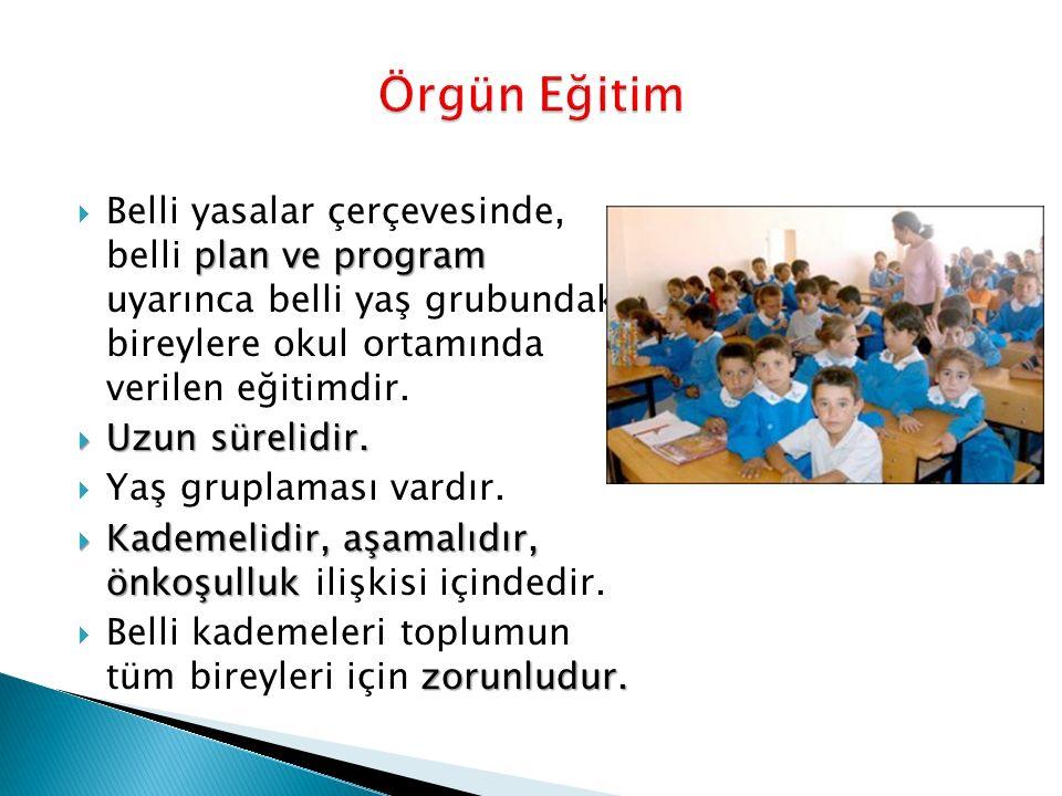 plan ve program  Belli yasalar çerçevesinde, belli plan ve program uyarınca belli yaş grubundaki bireylere okul ortamında verilen eğitimdir.
