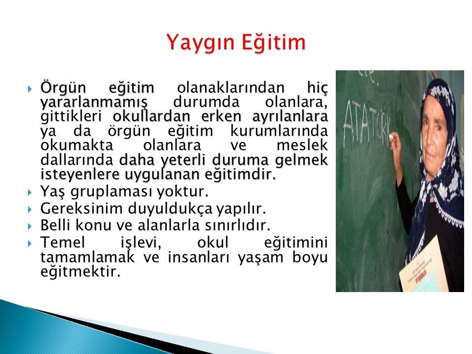  Örgün eğitim hiç yararlanmamış okullardan erken ayrılanlara daha yeterli duruma gelmek isteyenlere uygulanan eğitimdir.