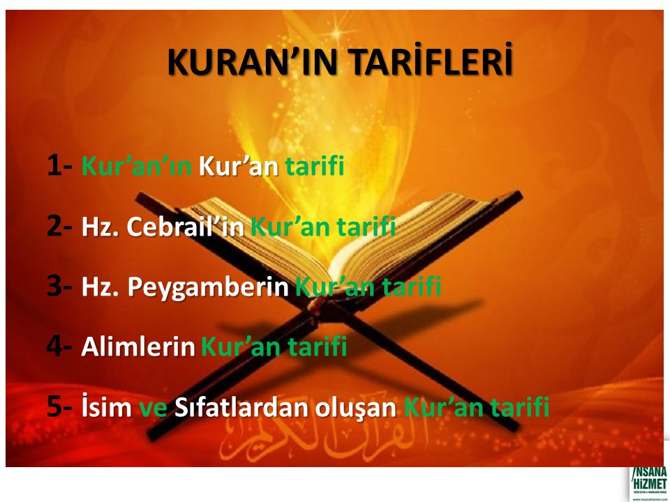 KURAN'IN TARİFLERİ Kur'an 1- Kur'an'ın Kur'an tarifi Hz.