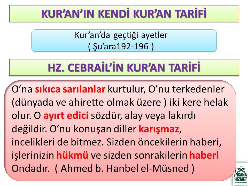 KUR'AN'IN KENDİ KUR'AN TARİFİ Kur'an'da geçtiği ayetler ( Şu'ara192-196 ) Kur'an'da geçtiği ayetler ( Şu'ara192-196 ) O'na sıkıca sarılanlar kurtulur, O'nu terkedenler (dünyada ve ahirette olmak üzere ) iki kere helak olur.