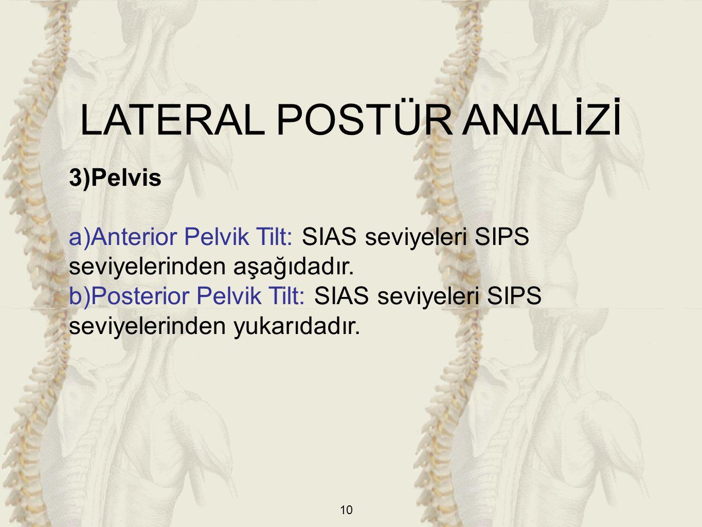 10 3)Pelvis a)Anterior Pelvik Tilt: SIAS seviyeleri SIPS seviyelerinden aşağıdadır. b)Posterior Pelvik Tilt: SIAS seviyeleri SIPS seviyelerinden yukar