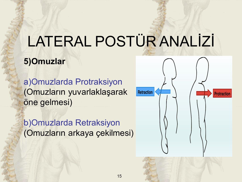 15 5)Omuzlar a)Omuzlarda Protraksiyon (Omuzların yuvarlaklaşarak öne gelmesi) b)Omuzlarda Retraksiyon (Omuzların arkaya çekilmesi) LATERAL POSTÜR ANAL
