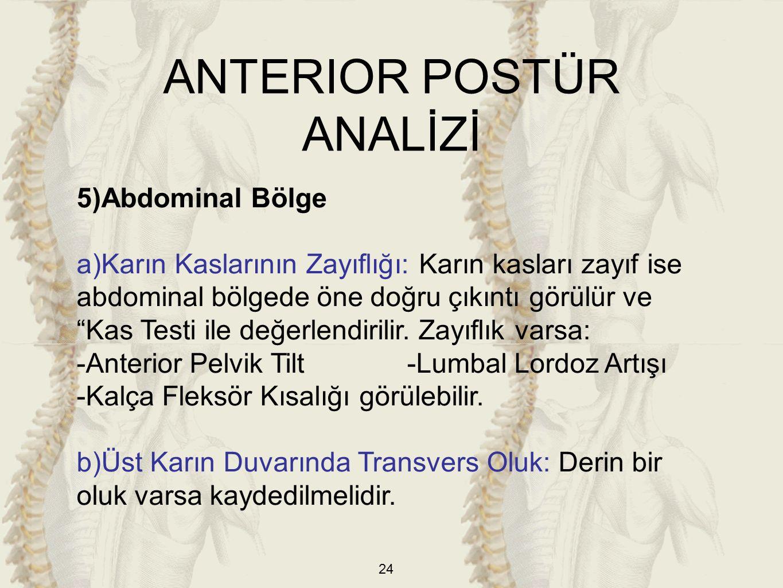 """24 5)Abdominal Bölge a)Karın Kaslarının Zayıflığı: Karın kasları zayıf ise abdominal bölgede öne doğru çıkıntı görülür ve """"Kas Testi ile değerlendiril"""