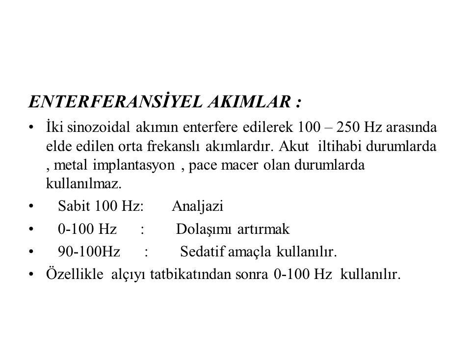 ENTERFERANSİYEL AKIMLAR : İki sinozoidal akımın enterfere edilerek 100 – 250 Hz arasında elde edilen orta frekanslı akımlardır. Akut iltihabi durumlar