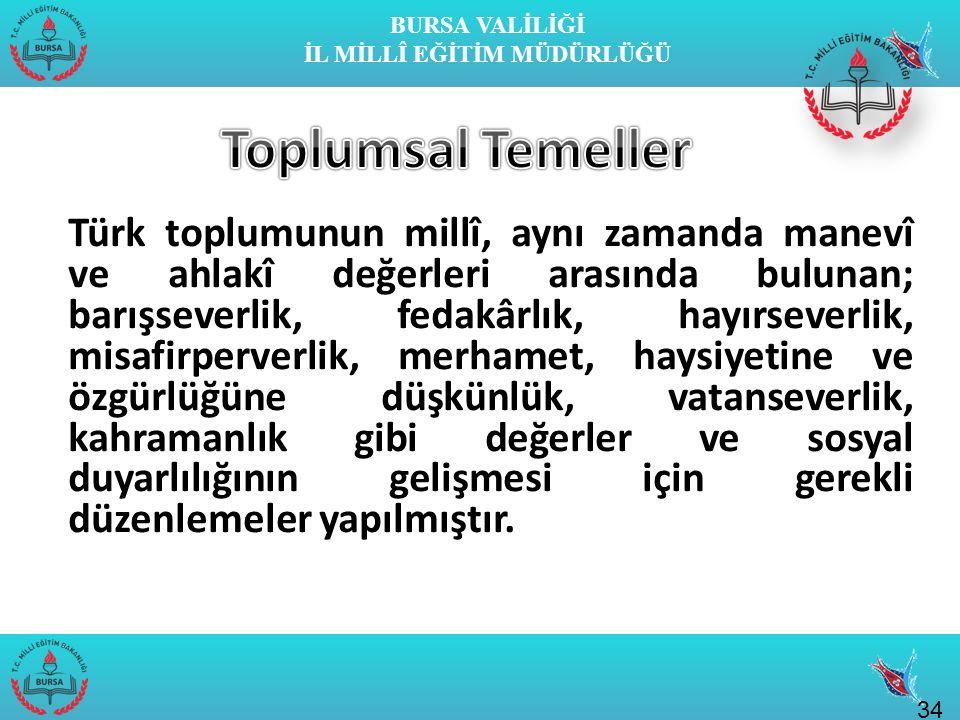 BURSA VALİLİĞİ İL MİLLÎ EĞİTİM MÜDÜRLÜĞÜ Türk toplumunun millî, aynı zamanda manevî ve ahlakî değerleri arasında bulunan; barışseverlik, fedakârlık, h