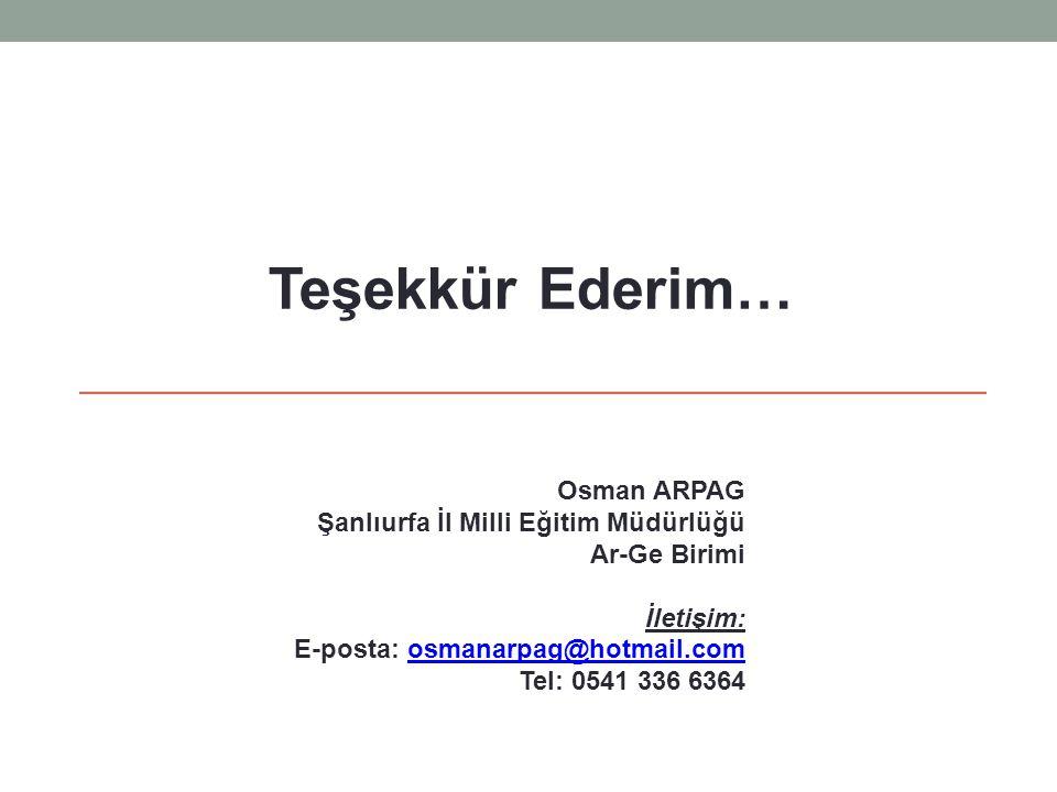 Osman ARPAG Şanlıurfa İl Milli Eğitim Müdürlüğü Ar-Ge Birimi İletişim: E-posta: osmanarpag@hotmail.comosmanarpag@hotmail.com Tel: 0541 336 6364 Teşekk
