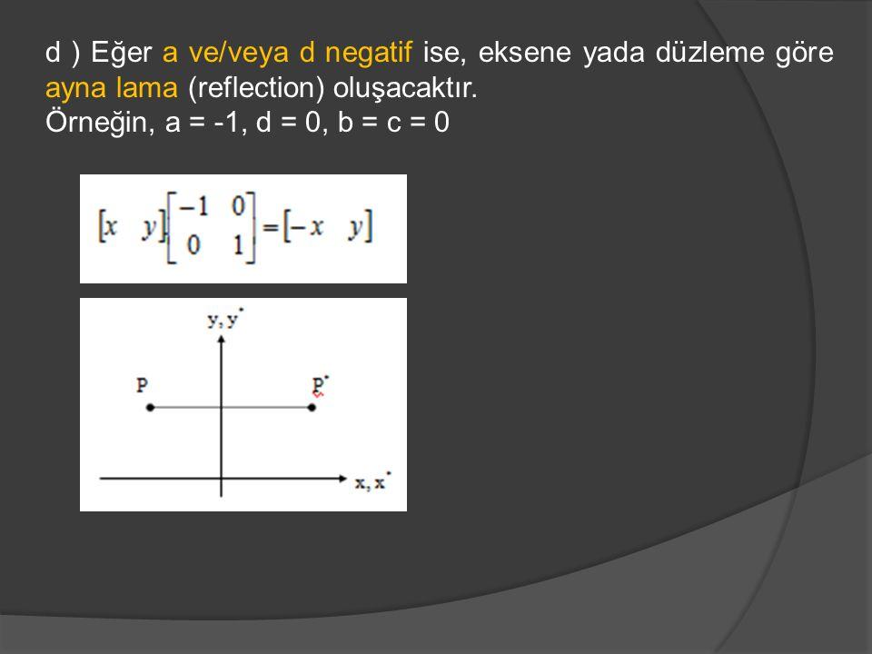 d ) Eğer a ve/veya d negatif ise, eksene yada düzleme göre ayna lama (reflection) oluşacaktır. Örneğin, a = -1, d = 0, b = c = 0
