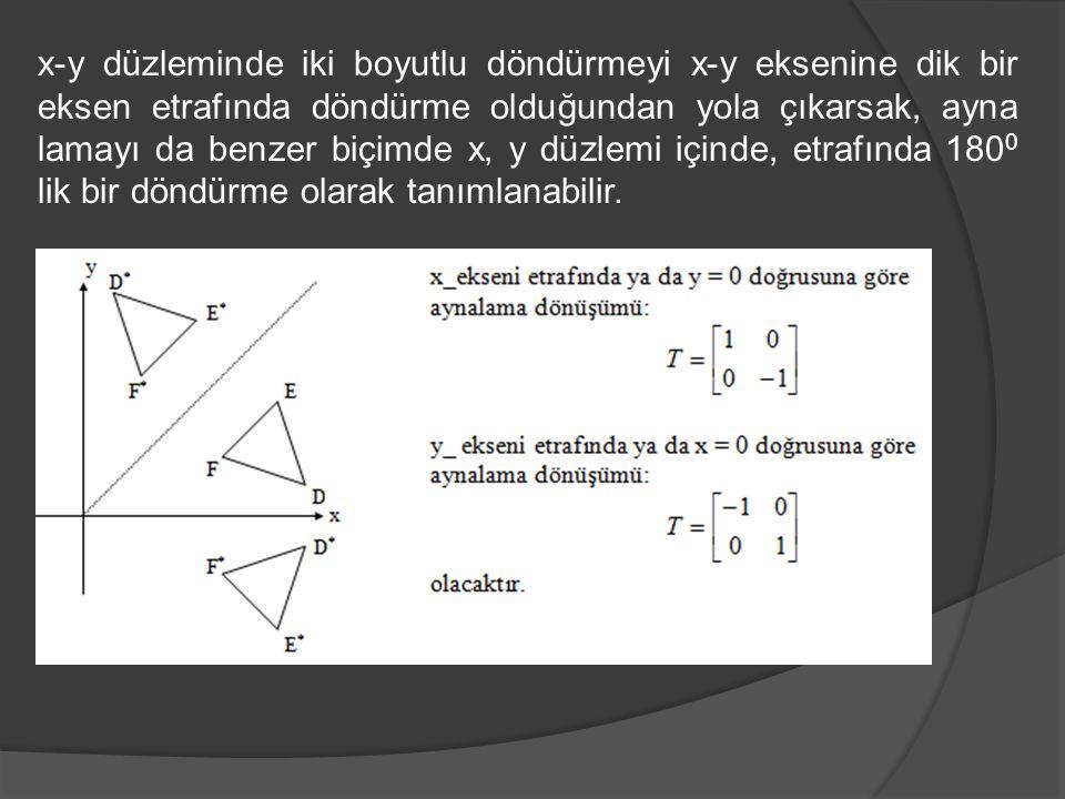 x-y düzleminde iki boyutlu döndürmeyi x-y eksenine dik bir eksen etrafında döndürme olduğundan yola çıkarsak, ayna lamayı da benzer biçimde x, y düzle