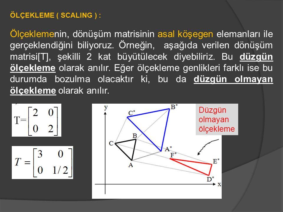 ÖLÇEKLEME ( SCALING ) : Ölçeklemenin, dönüşüm matrisinin asal köşegen elemanları ile gerçeklendiğini biliyoruz. Örneğin, aşağıda verilen dönüşüm matri