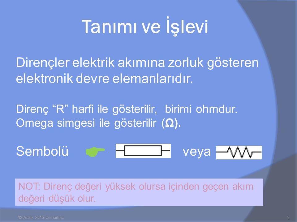 """Dirençler elektrik akımına zorluk gösteren elektronik devre elemanlarıdır. Direnç """"R"""" harfi ile gösterilir, birimi ohmdur. Omega simgesi ile gösterili"""