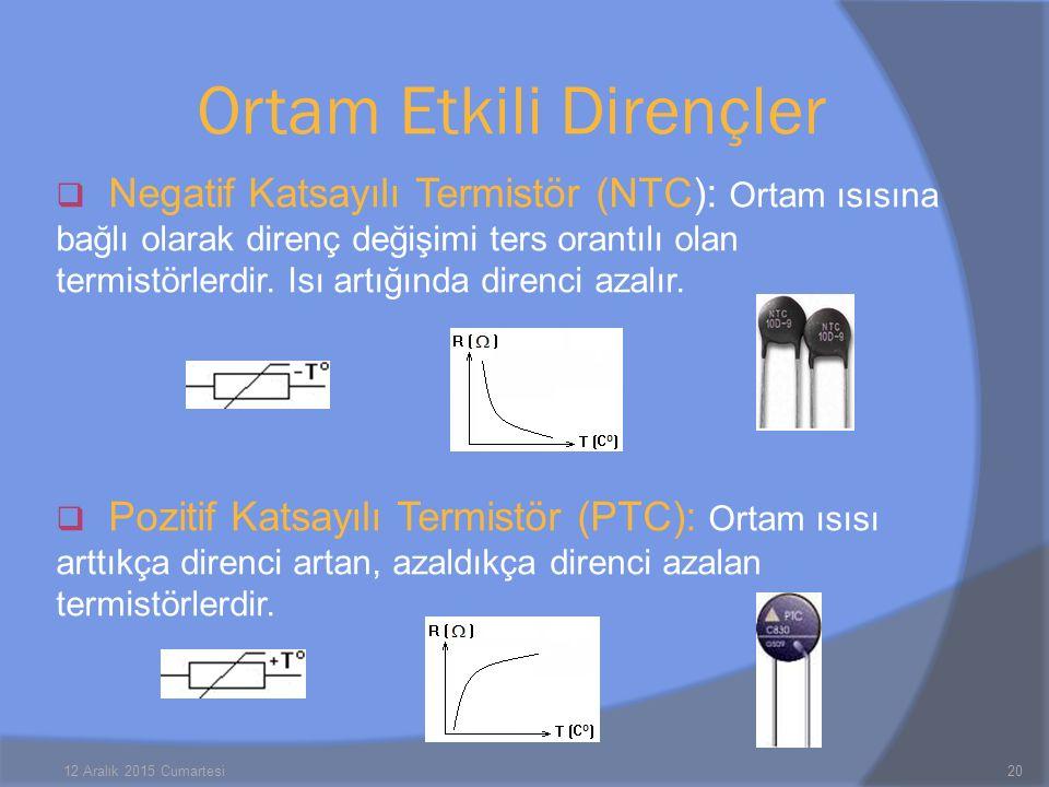  Negatif Katsayılı Termistör (NTC): Ortam ısısına bağlı olarak direnç değişimi ters orantılı olan termistörlerdir.