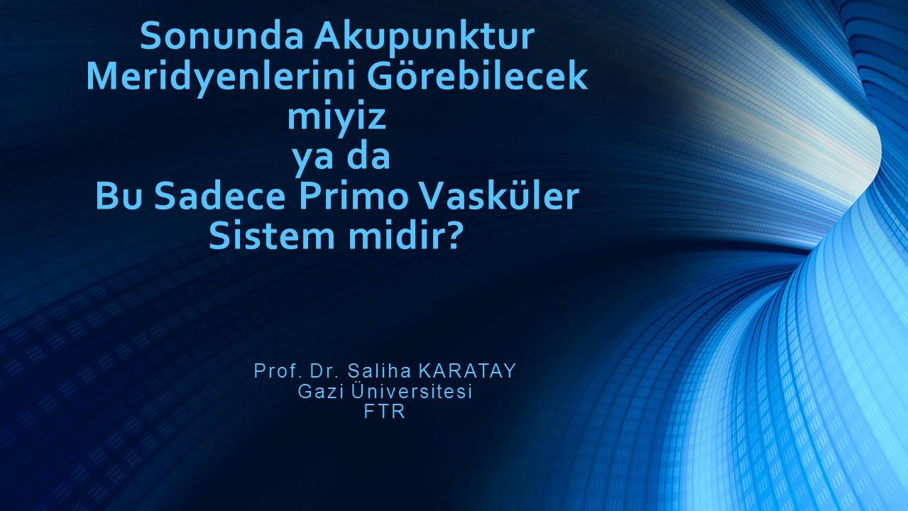 Sonunda Akupunktur Meridyenlerini Görebilecek miyiz ya da Bu Sadece Primo Vasküler Sistem midir? Prof. Dr. Saliha KARATAY Gazi Üniversitesi FTR
