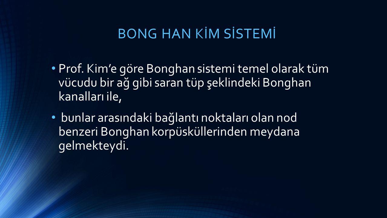 BONG HAN KİM SİSTEMİ Prof. Kim'e göre Bonghan sistemi temel olarak tüm vücudu bir ağ gibi saran tüp şeklindeki Bonghan kanalları ile, bunlar arasındak