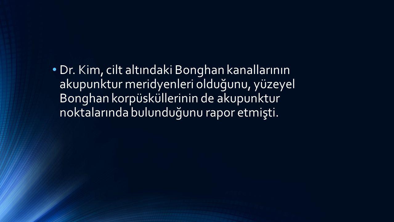 Dr. Kim, cilt altındaki Bonghan kanallarının akupunktur meridyenleri olduğunu, yüzeyel Bonghan korpüsküllerinin de akupunktur noktalarında bulunduğunu