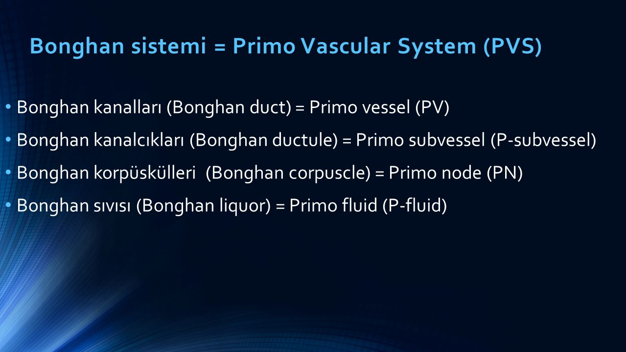 Bonghan sistemi = Primo Vascular System (PVS) Bonghan kanalları (Bonghan duct) = Primo vessel (PV) Bonghan kanalcıkları (Bonghan ductule) = Primo subvessel (P-subvessel) Bonghan korpüskülleri (Bonghan corpuscle) = Primo node (PN) Bonghan sıvısı (Bonghan liquor) = Primo fluid (P-fluid)