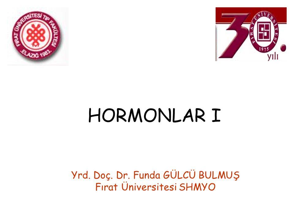HORMONLAR I Yrd. Doç. Dr. Funda GÜLCÜ BULMUŞ Fırat Üniversitesi SHMYO
