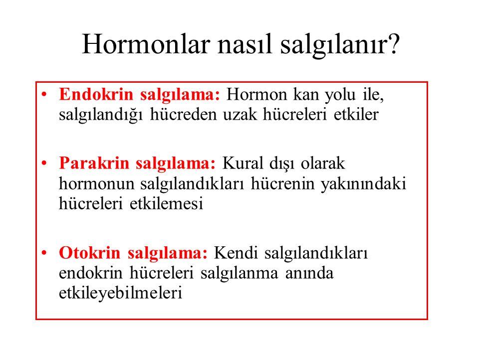 Hormonlar nasıl salgılanır? Endokrin salgılama: Hormon kan yolu ile, salgılandığı hücreden uzak hücreleri etkiler Parakrin salgılama: Kural dışı olara