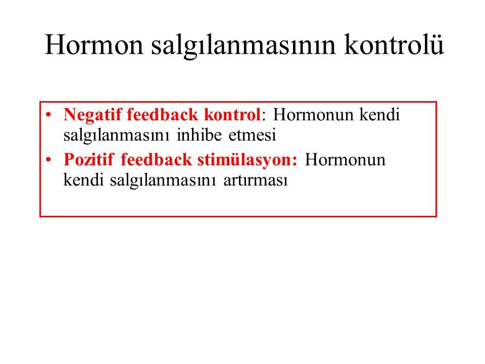 Negatif feedback kontrol: Hormonun kendi salgılanmasını inhibe etmesi Pozitif feedback stimülasyon: Hormonun kendi salgılanmasını artırması Hormon sal